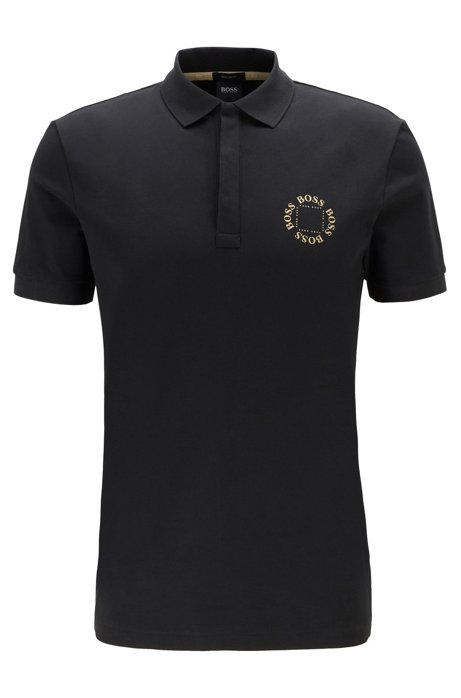 Piqué polo shirt with layered metallic logo, Charcoal