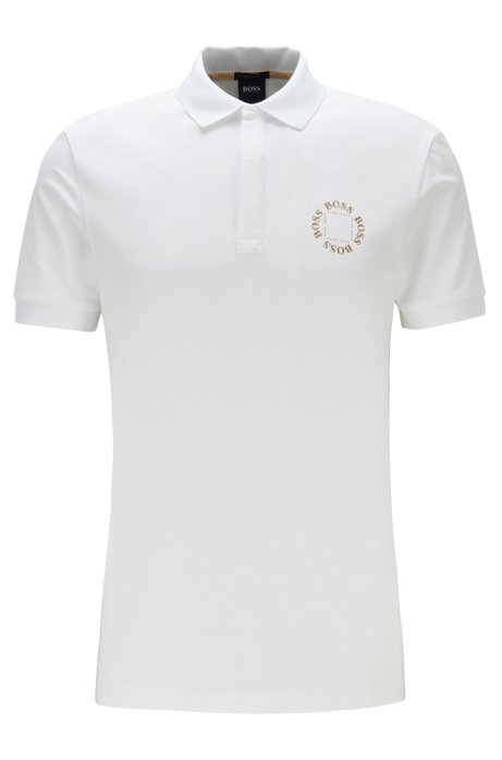 Piqué polo shirt with layered metallic logo, Natural