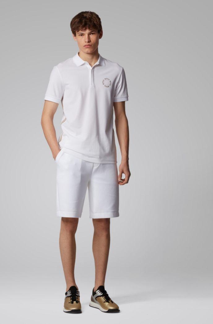 Piqué polo shirt with layered metallic logo