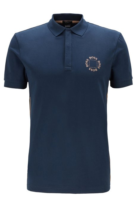 Piqué polo shirt with layered metallic logo, Dark Blue