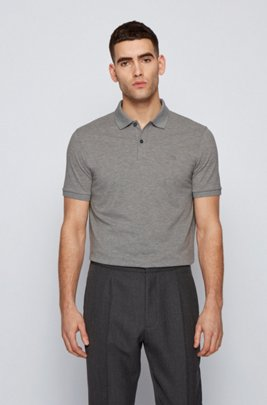 Regular-fit polo shirt in Pima-cotton piqué, Silver