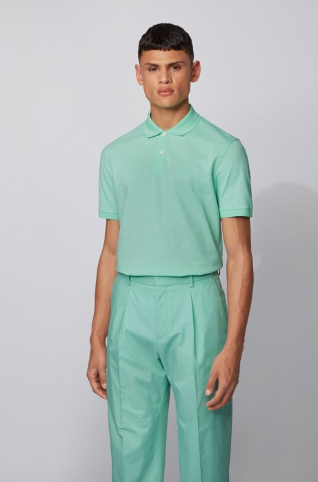 Regular-fit polo shirt in Pima-cotton piqué, Light Green