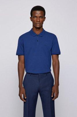 Regular-fit polo shirt in Pima-cotton piqué, Dark Blue