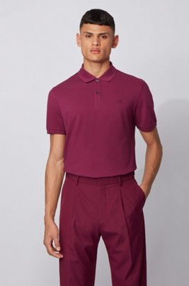 Regular-fit polo shirt in Pima-cotton piqué, Purple