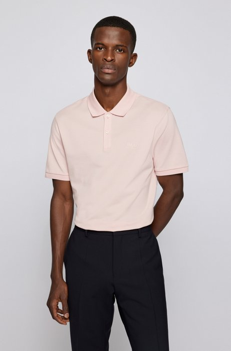 Regular-fit polo shirt in Pima-cotton piqué, light pink