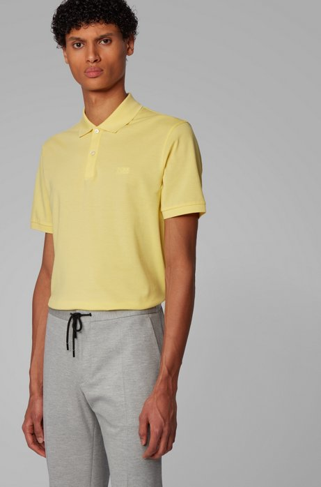 Regular-fit polo shirt in Pima-cotton piqué, Yellow