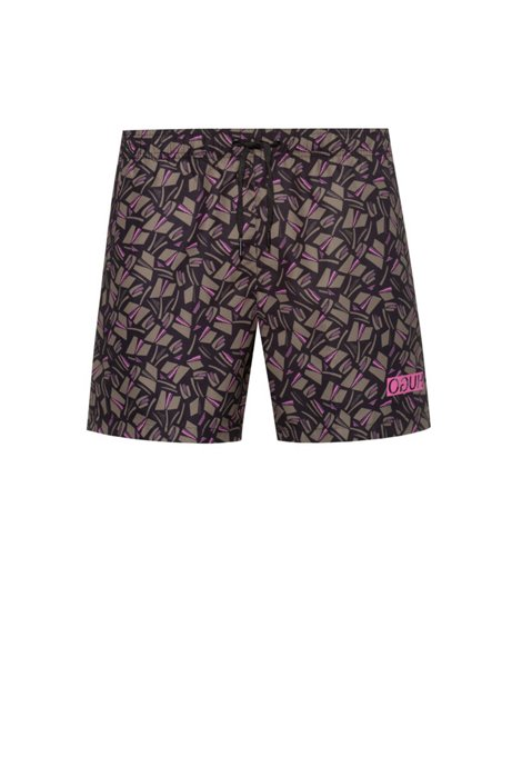 Quick-drying swim shorts with tulip print, Open Beige
