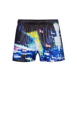 Quick-drying swim shorts with city-lights print, Black