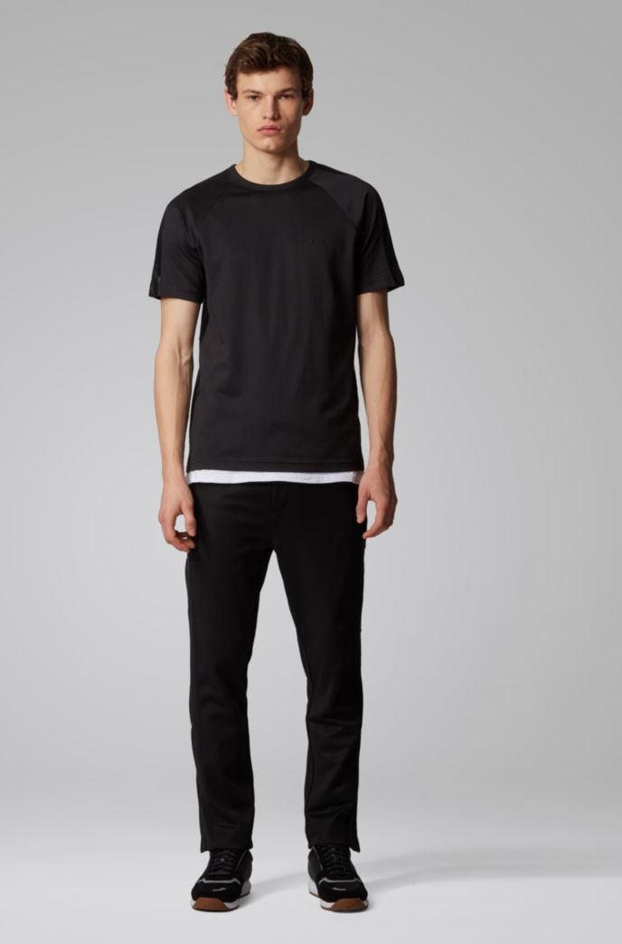 Crew-neck T-shirt with logo-embossed piqué stripes