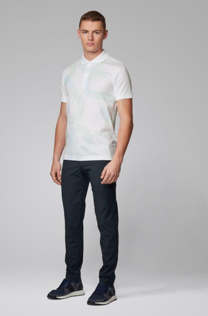 Slim-fit polo shirt with UV-reactive logo print