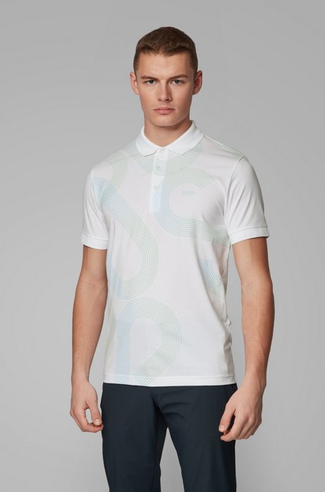 Slim-fit polo shirt with UV-reactive logo print, White