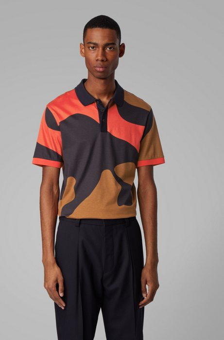 Camouflage-print polo shirt in pure cotton, Dark Blue