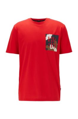 Regular-fit T-shirt in cotton with monogram print, Red