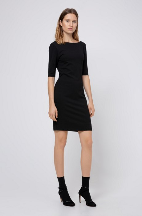 Stretch-jersey dress with V back and ring detail, Black