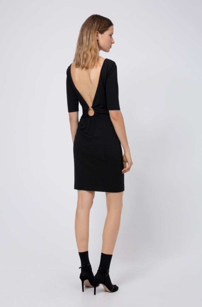 Stretch-jersey dress with V back and ring detail