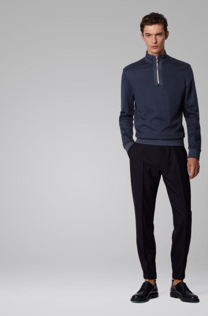 Regular-fit sweatshirt with quarter zip in cotton terry