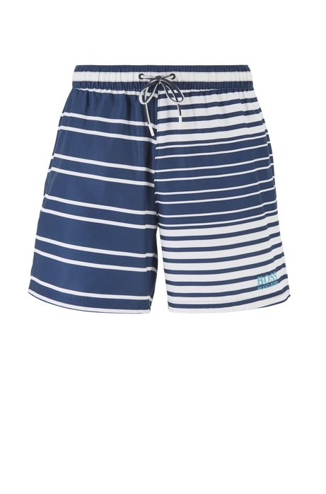 Quick-dry swim shorts with patched stripes, Open Blue