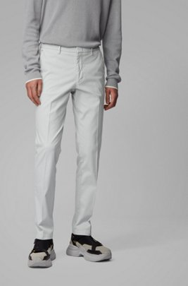 Slim-fit chinos in overdyed stretch-cotton jacquard, Light Grey