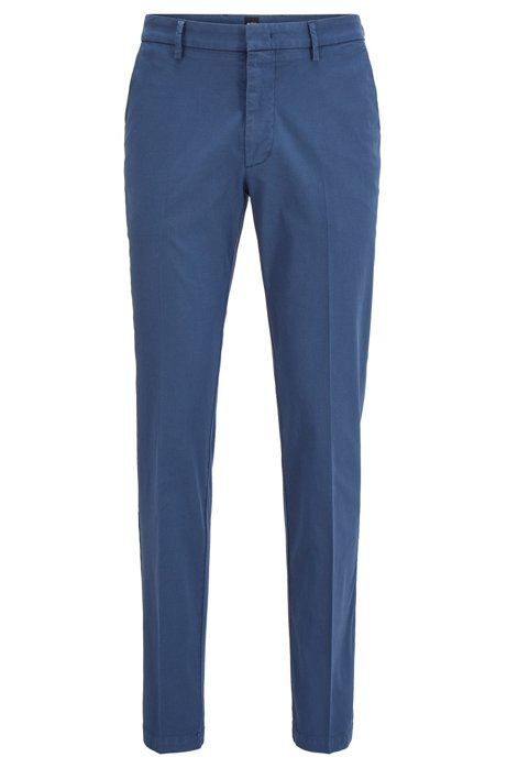 Slim-fit chinos in overdyed stretch-cotton jacquard, Open Blue