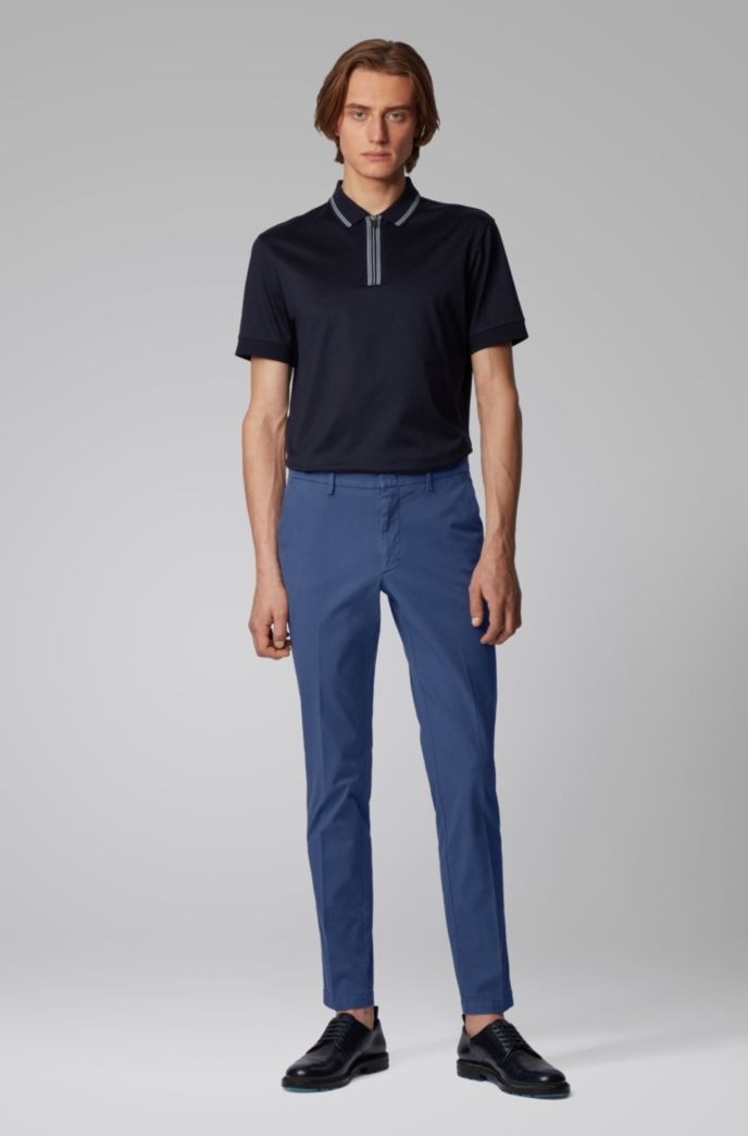 Slim-fit chinos in overdyed stretch-cotton jacquard
