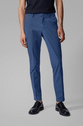 Slim-fit chinos in overdyed stretch-cotton jacquard, Light Blue