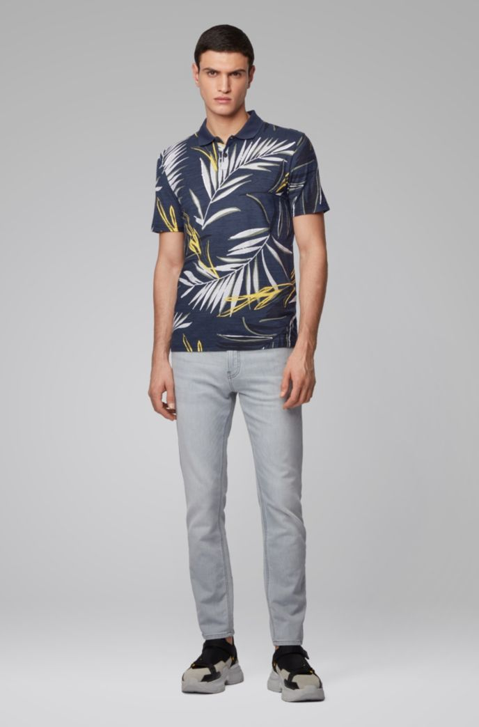 Leaf-print polo shirt in slub-cotton jersey