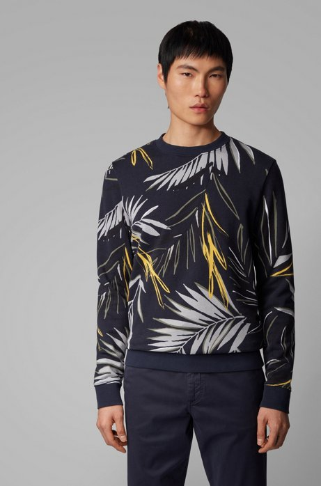 Leaf-print sweatshirt in cotton terry, Dark Blue