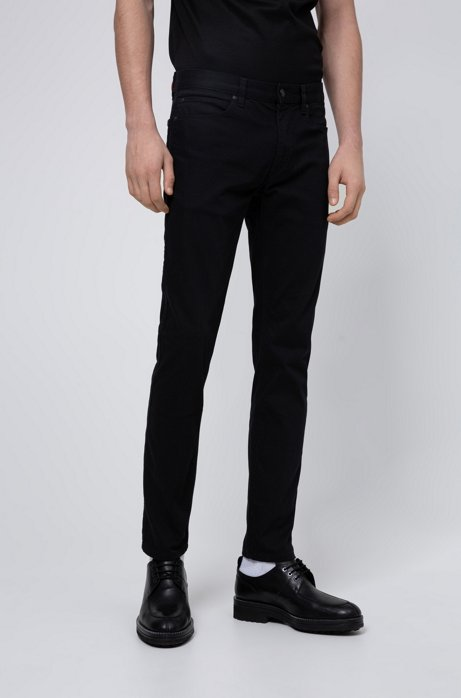 Slim-fit jeans in rinse-washed stretch denim, Black