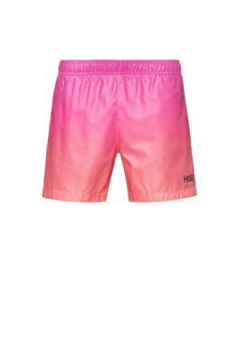 Quick-drying swim shorts with dégradé print, Light Orange