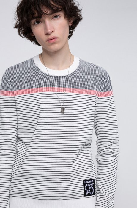 Striped sweater in a cotton blend with collection labeling, White