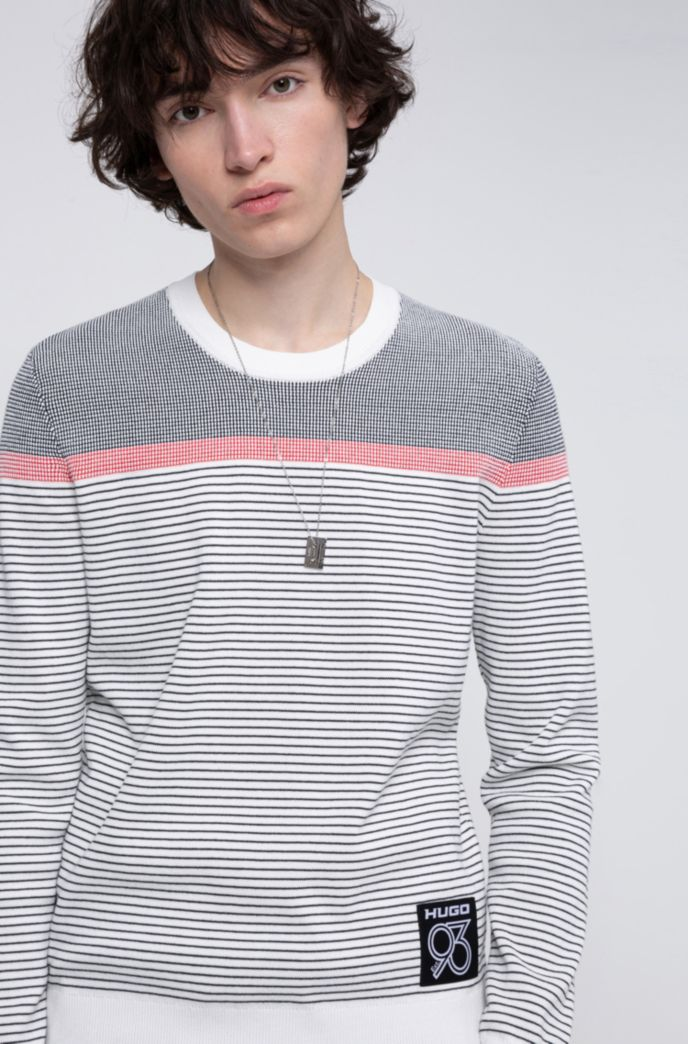 Striped sweater in a cotton blend with collection labeling