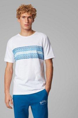 Regular-fit T-shirt with printed logo panel, White