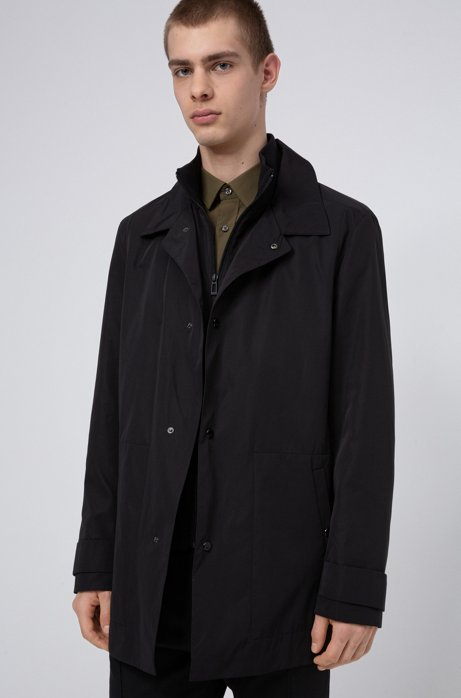 Water-repellent jacket with zip-through knitted inner, Black
