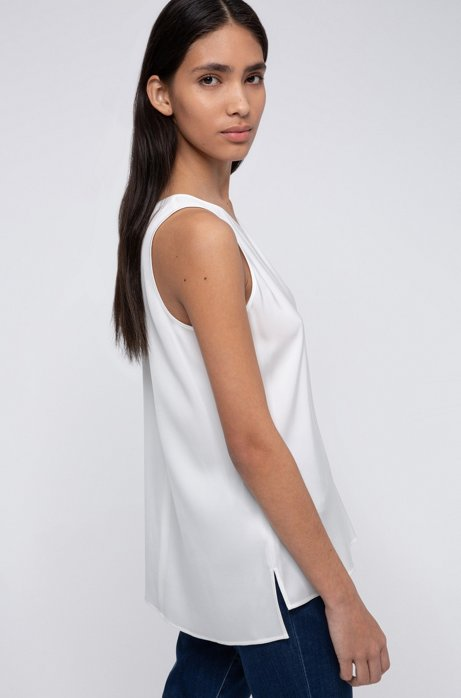 Regular-fit sleeveless top in stretch silk, Natural