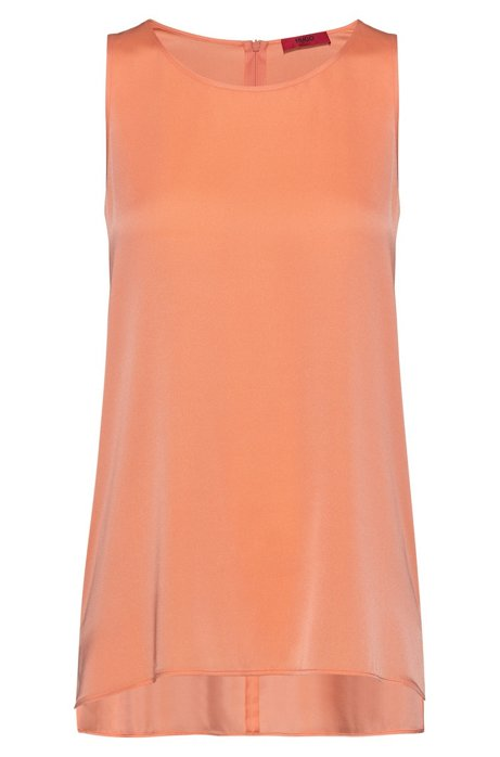 Regular-fit sleeveless top in stretch silk, Light Orange