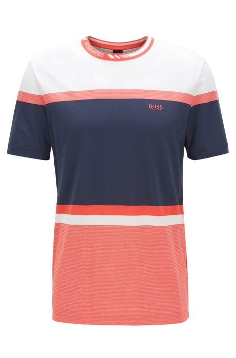Regular-fit T-shirt with color-block stripes, Dark Blue