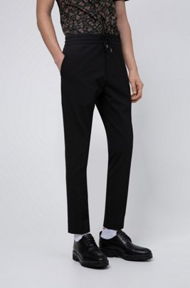 Tapered-fit pants with elasticated drawstring waistband, Black