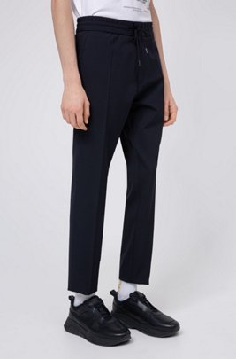 Tapered-fit pants with elasticated drawstring waistband, Dark Blue