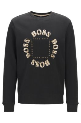 Double-faced sweatshirt with layered metallic logo, Charcoal
