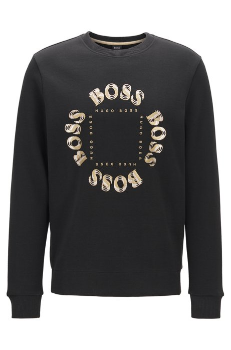 Double-faced sweatshirt with layered metallic logo, Charcoal