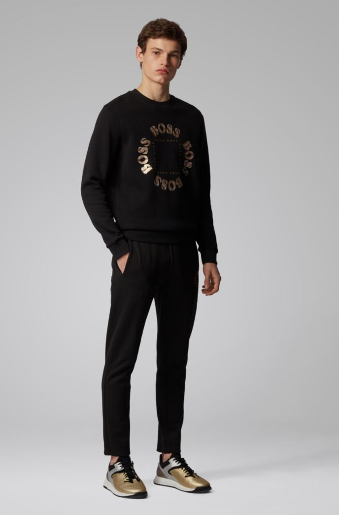 Double-faced sweatshirt with layered metallic logo