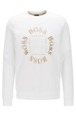 Double-faced sweatshirt with layered metallic logo, Natural