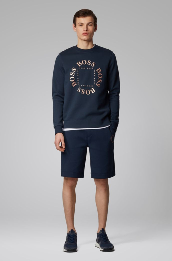 Double-faced sweatshirt with layered metallic logo
