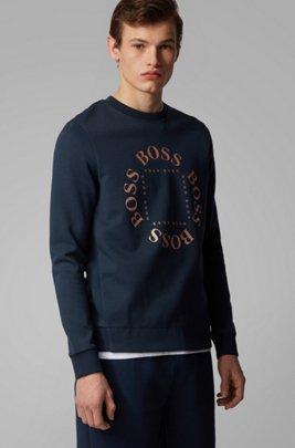 Double-faced sweatshirt with layered metallic logo, Dark Blue