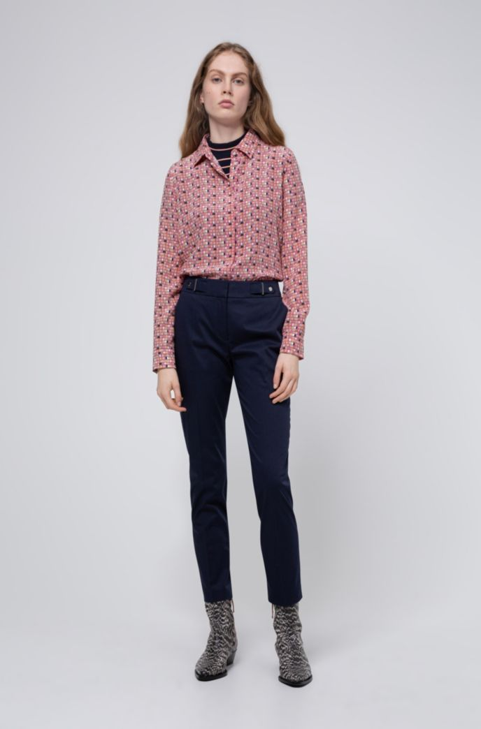 Regular-fit pants with waistband detail in stretch cotton