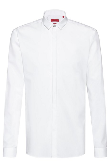 Extra-slim-fit easy-iron shirt with feature closure, Open White