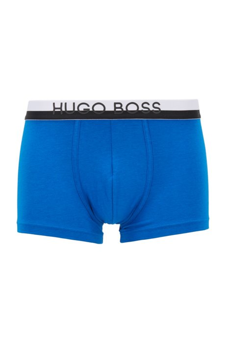 Regular-rise stretch-jersey trunks with logo waistband, Blue