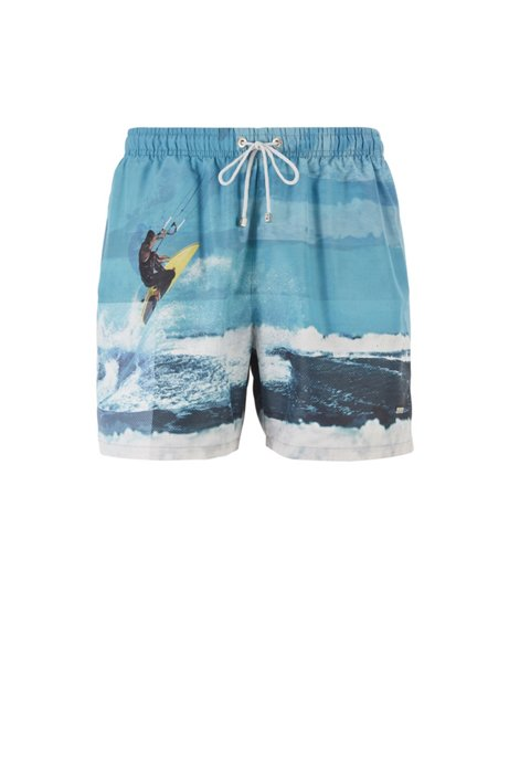 Quick-dry photo-print swim shorts with SEAQUAL™ yarns, Open Green