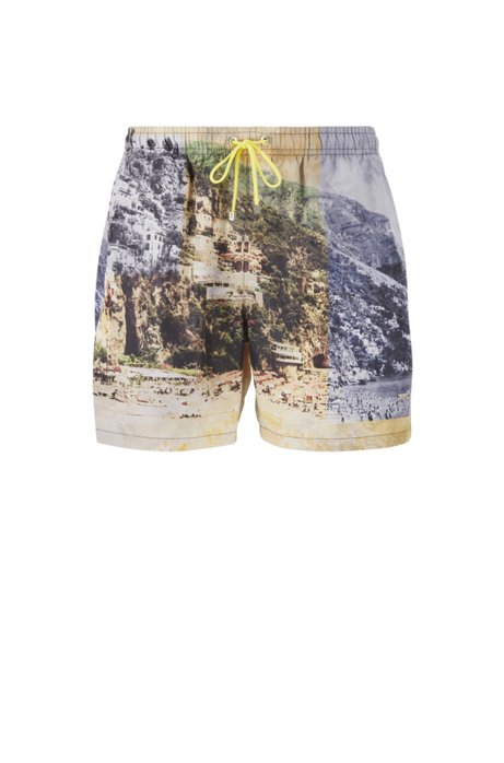 Quick-dry photo-print swim shorts with SEAQUAL™ yarns, Light Yellow