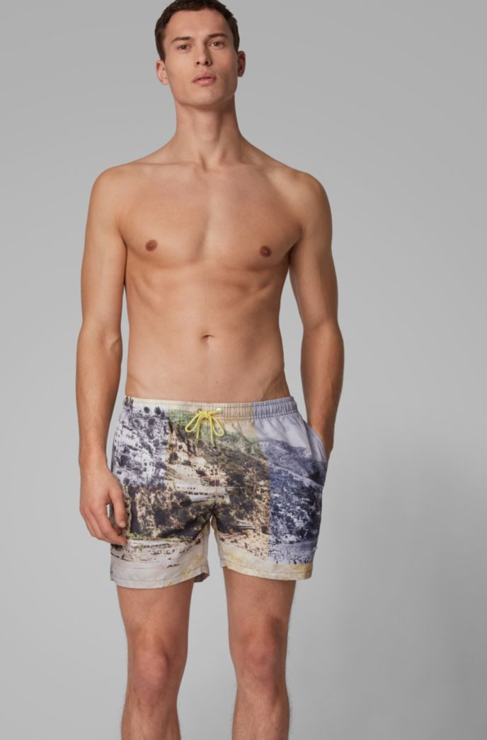 Quick-dry photo-print swim shorts with SEAQUAL™ yarns